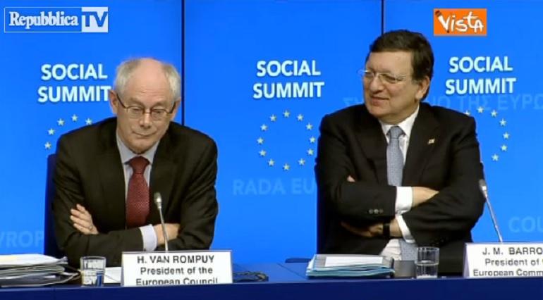La risatina di Van Rompuy e Josè Barroso