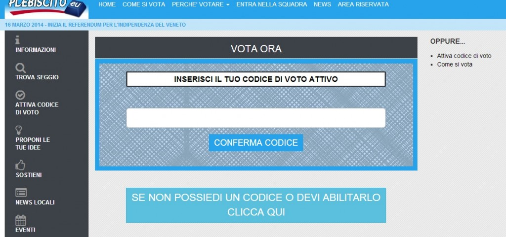 Veneto indipendente, referendum online