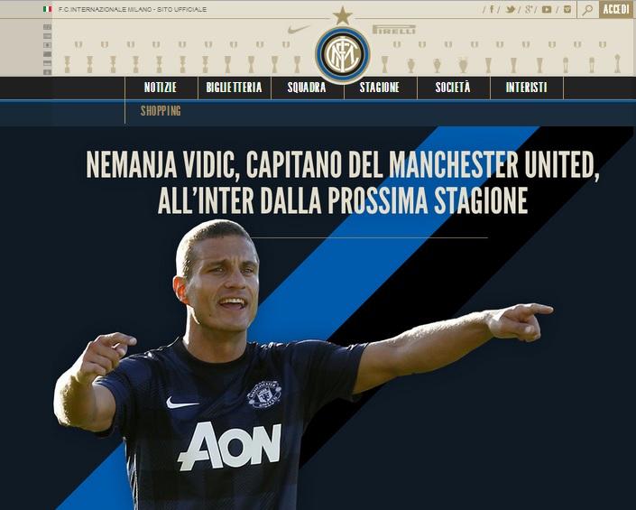 """Calciomercato Inter, ufficiale Vidic. Thohir: """"Grande campione"""""""