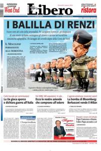"""""""I balilla di Renzi"""", la prima pagina di Libero"""