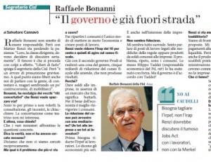 """Raffaele Bonanni (Cisl): """"Il governo è già fuori strada"""""""
