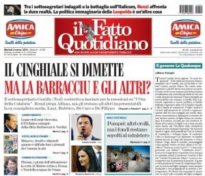 """Marco Travaglio sul Fatto Quotidiano: """"Il governo Laqualunque"""""""