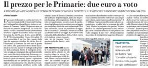 Il prezzo per le Primarie: due euro a voto. Paolo Tessadri, Fatto Quotidiano