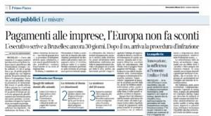 Pagamenti alle imprese, l'Europa non fa sconti. Luigi Offeddu sul Corriere della Sera