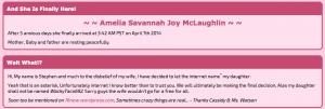 Amelia Savannah Joy McLaughin. Il suo nome? L'ha deciso il web