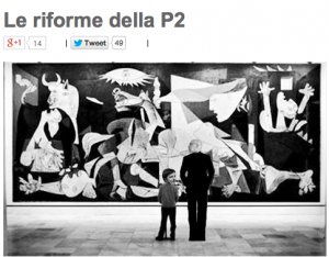 """Beppe Grillo parafrasa Guccini: """"Riforme della P2: un vecchio e un ebetino…"""""""