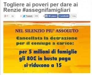 "Blog Beppe Grillo: ""Renzi +80 euro in busta paga, -65 di #assegnifamiliari"""