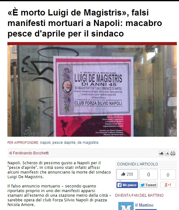"""""""Luigi De Magistris è morto"""": manifesto-pesce d'aprile a Napoli (foto)"""