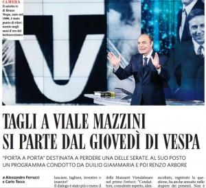 Fatto: Rai taglia Porta a Porta, da ottobre niente giovedì a Vespa
