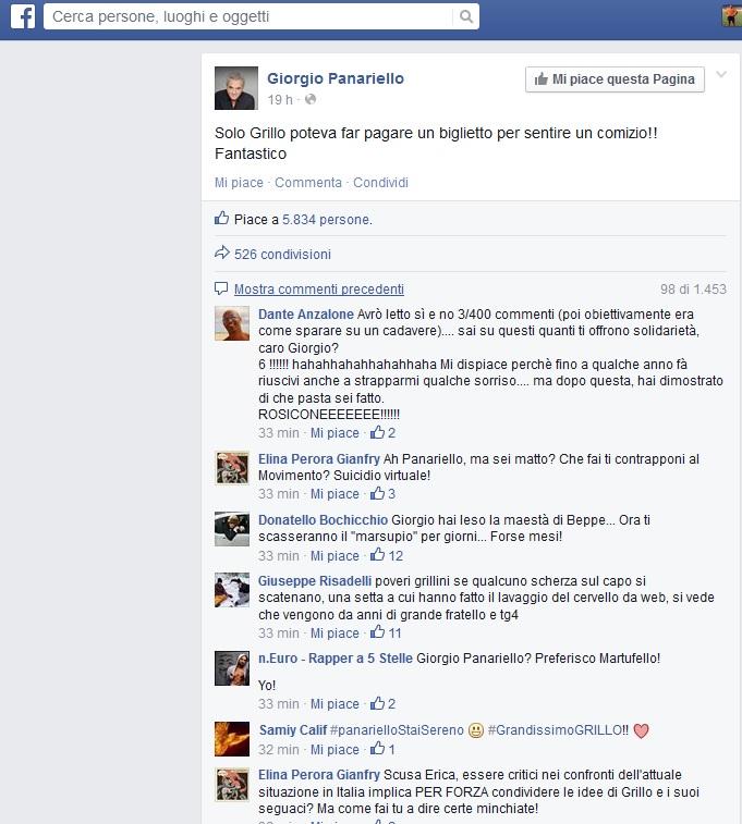 """Giorgio Panariello contro Beppe Grillo: """"Solo lui poteva far pagare per un comizio!"""""""