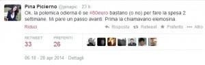 """Pina Picierno: """"80€, spesa per 2 settimane"""". E' polemica su Facebook e Twitter"""