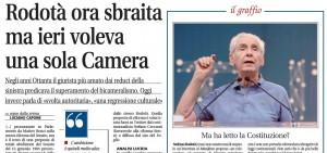 Quando Rodotà voleva solo una Camera, Luciano Capone su Libero