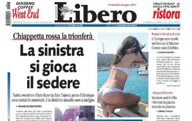 La prima pagina di Libero sul lato B di Paola Bacchiddu
