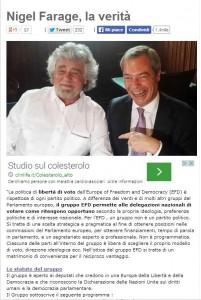 Beppe Grillo pubblica Nigel Farage pensiero: Ukip pacifista, democratico, anti-Troika