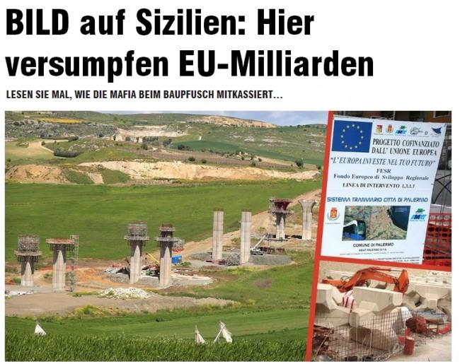 """Bild: """"Miliardi fondi Ue sprofondano in Sicilia, soldi alla mafia"""""""