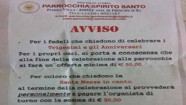 Messa per defunto 50€, musica altri 30: tariffario chiesa di Casal di Principe