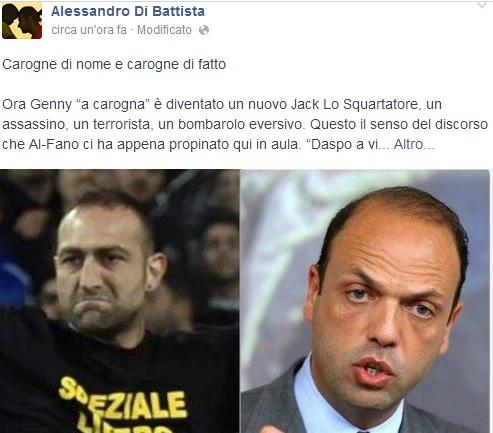 """Alessandro Di Battista: """"Al-Fano la vera carogna"""". Post su Facebook"""