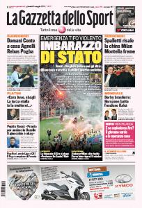 """Emergenza tifo violento. Imbarazzo Stato, Renzi: """"Sbagliato parlare con ultrà"""" (prima pagina Gazzetta dello Sport)"""