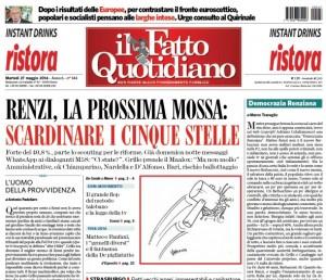 La prima pagina del Fatto Quotidiano con la vignetta di Vauro