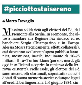 """Marco Travaglio sul Fatto Quotidiano: """" #picciottostaisereno"""""""