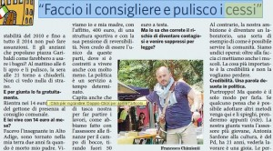 Francesco Chimienti, consigliere comunale pulisce i bagni per 14 euro al mese