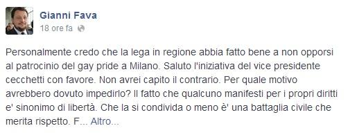 Il post di Gianni Fava (foto Facebook)