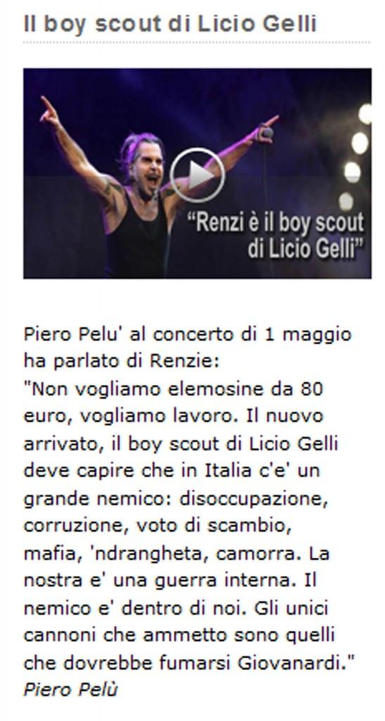"""Piero Pelù: """"Renzi boy scout di Gelli"""". Blog di Grillo riprende sue parole FOTO"""