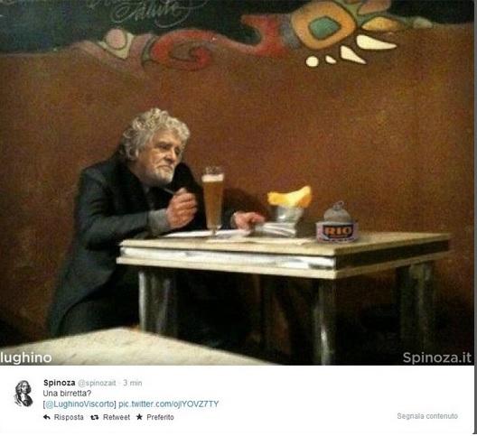 Grillo come Bersani, sfottò su Twitter: al tavolo del pub con una pinta di birra