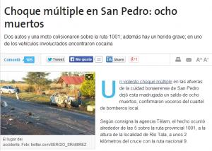 La notizia dell'incidente sul sito de La Nación