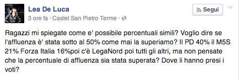 Il post su Facebook di Lea De Luca