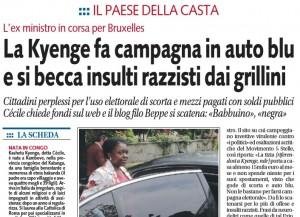 """Cecile Kyenge, Libero: """"Campagna elettorale in auto blu"""