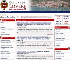 Lovere (Bergamo), link del Comune rimanda a sito che vende viagra