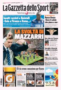 """Inter, Walter Mazzarri annuncia la svolta: """"In difesa giocherò a quattro"""" (prima pagina Gazzetta dello Sport)"""