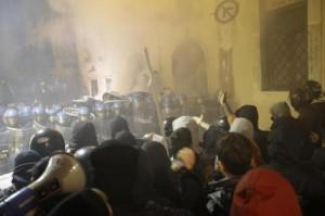 Un momento della protesta No Tav a Roma (Foto Lapresse)