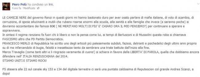 """Piero Pelù ancora contro Matteo Renzi: """"Le sue camicie nere mi bastonano"""""""