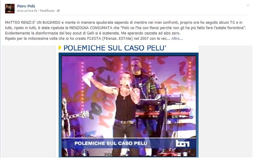 """Pierò Pelù a Renzi: """"Boy scout di Gelli mente sapendo di mentire"""""""