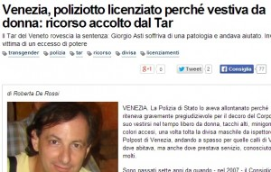 Giorgio Asti, poliziotto trans che si vestiva da donna: licenziato e reintegrato