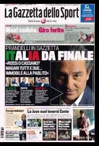 """Prandelli: """"Mondiali 2014? Italia da finale. Totti non l'ho portato perchè..."""" prima pagina Gazzetta dello Sport"""
