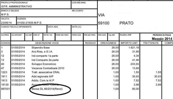 Prato, nella busta paga il bonus di 80 euro