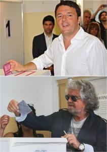 Europee: Matteo Renzi e Beppe Grillo al voto