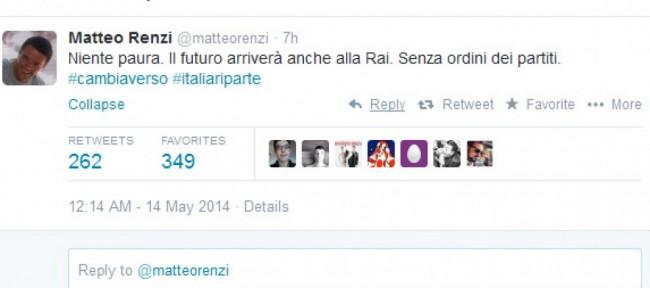 """Renzi dopo Ballarò su Twitter: """"Niente paura, futuro arriverà anche alla Rai"""""""