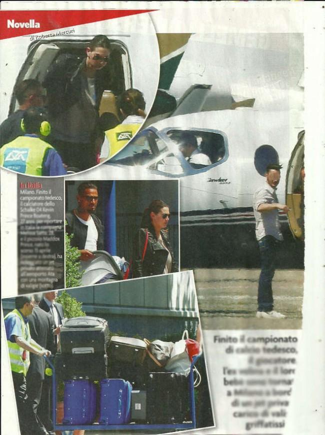 Melissa Satta e Boateng tornano in Italia con il jet privato (foto Novella 2000)