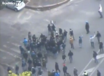 Tifosi Napoli, Polizia, scontri: il video girato dall'elicottero della Polizia