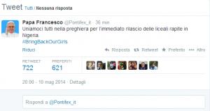 Il tweet di Papa Francesco