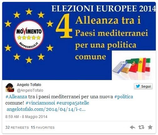 """""""#Alleanza tra i paesi mediterranei per una nuova #politica comune! #vinciamonoi #europa5stelle"""""""