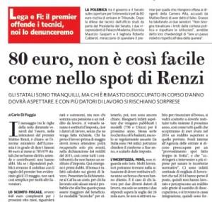 """""""80 euro, non è così facile come nello spot di Renzi"""". Carlo Di Foggia, Fatto Quotidiano"""
