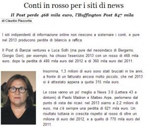 Guarda la versione ingrandita di Conti in rosso per i siti di news. Claudio Piazzotta, Italia Oggi