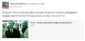 """Padova, sindaco Bitonci: """"Crocifisso obbligatorio in scuole e uffici pubblici"""""""