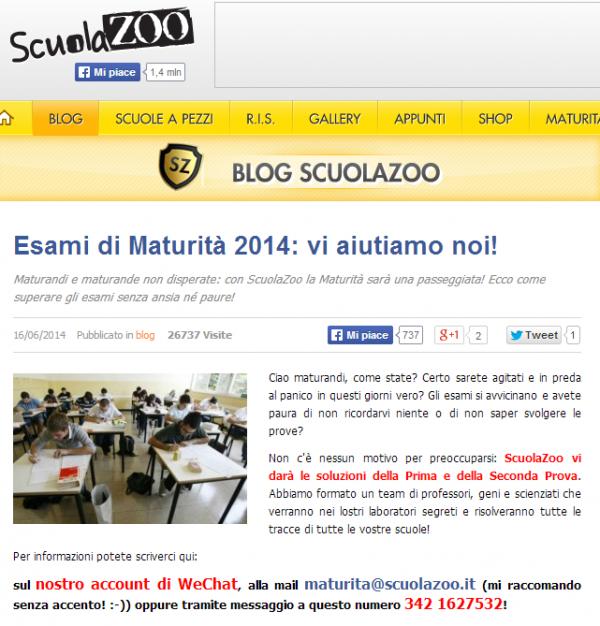 Maturità 2014, denunciato sito ScuolaZoo: offriva le prove fatte via chat
