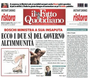 La prima pagina del Fatto Quotidiano